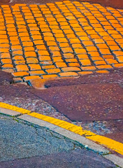 Orange Cobbles !? (stephenbryan825) Tags: liverpool color floor graphic multicoloured pavement reflection selects wetpavement