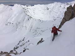 skiing the back side of frey hut in patagonia