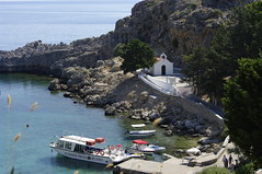 Rhodes, St Paul's bay, Lindos (briangeorgephillips) Tags: summer tourism chapel breeze rhodes cruises lindos stpaulsbay breez summerbreezecruises