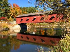 Each Day is a Gift (Len Radin) Tags: coveredbridge buskirk newyork autumn fall water river bike bicycle