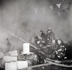 2015-12-17ThrowbackThurs1966 (15) (Official New York City Fire Department (FDNY)) Tags: york nyc rescue building water vintage fire smoke flames tools 1966 masks collapse 1960s firefighting firefighter fdny tbt new city fire handlines engine truck thursday aerial ladder suppression throwback