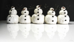 The Five Snowmen (Quincey Deters) Tags: christmas reflection horizontal march snowman many allrightsreserved s10 colourimage quinceydeters