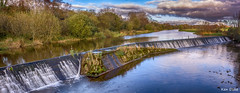 Belmont Weir (Ken Duke 03) Tags: ireland panorama reflection water river landscape outdoor pano serene weir offaly panoramicimage panoramaimage