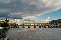 Clouds over the Vltava river (Darea62) Tags: city travel bridge water clouds river prague charles praha most vltava karlv