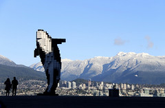 Whale and Snowy Mountains (ruthlesscrab) Tags: sculpture snow canada vancouver december bc northshore publicart douglascoupland digitalorca