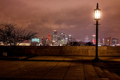 Fantasyland (KC Mike D.) Tags: lamp post lampost light shining skyline city downtown evening night photography kc missouri