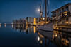 Nyborg Harbour, Denmark (haiiyaa) Tags: night nights nightscape landscape nx500 1650mm samsung light lights lightbulps denmark danmark fyn funen nyborg boat boats harbour long exposure moon sea ocean