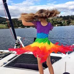 Zoe. Birthday dress. Birthday twirl... (miaow) Tags: bellalunaboat tasmania summer2017 zoe 9yo
