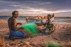 Fishermen at Dhanuskodi preparing the fishing nets. ☺ (ashwin647) Tags: indiapictures india sunset sea beach fishermen sky tamilnadu rameswaram goldenhour clouds people