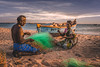 Fishermen at Dhanuskodi preparing the fishing nets. ☺ (ashwin647) Tags: indiapictures india sunset sea beach fishermen sky tamilnadu rameswaram goldenhour clouds people