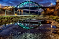 Sunderland Cityscape Reflections (robinta) Tags: reflections bridge architecture buildings city urban cityscape night bluehour evening light shadows robintaylorphotography sunderland texture contrast details illuminated