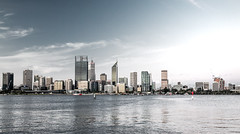 Perth Skyline (Max Pa.) Tags: perth city australia western australien stadt architektur architecture gebäude building blue light canon 2470mm 5d cityscape skyline water river travel