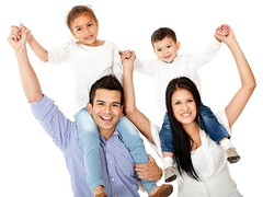 Parenting (alpmanilker) Tags: happy family parents carrying children shoulders isolated white background beautiful together togetherness happiness cheerful content joyful father mother daughter son woman man females males boy girl people person young child kid childhood latin latinamerican hispanic smile smiling bond offspring casual parenting couple
