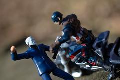 Captain America vs Chameleon (atari_warlord) Tags: 375 actionfigure captainamerica captainamericacivilwar chameleon hasbro marvel marvelcomics marvelinfiniteseries marveluniverse motorcycle