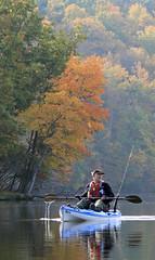 John at Muddy Run (DebiWatson) Tags: family autumn lake fall water reflections john river kayak pennsylvania fallcolors fallfoliage kayaking lancaster muddyrun
