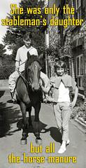 TietjenUK at Bembridge I.O.W. Stables 1962 (TietjenUK) Tags: boy blackandwhite bw horse girl monochrome children blackwhite daughter younglove pony isleofwight stable 1962 manure teenage iow bembridge horseman tietjenuk