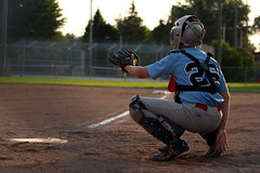 Catcher 1 (paulo_vee) Tags: summer brown sun game green home field leather sport socks canon fence outside shoe golden is uniform play pants mask baseball mit pad plate player diamond squat dirt telephoto hour jersey glove stm catcher infield cleats outfield 650d t4i 55250