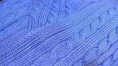 Rhapsody In Blue. In  extrafine merino! Pure love! (sifis) Tags: texture wool lumix sweater knitting knit merino athens yarn greece cables handknitting lx7 sakalak   sakalakwool