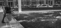Like He'd Never Seen a Squirrel Before (John Bense) Tags: city people urban blackandwhite monochrome animal washingtondc squirrel chinatown candy feeding wildlife feed leaning