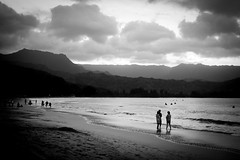 Copy of Kauai b&w64-2 (chiarina2016) Tags: kauai hawaii island beach monotone blackandwhite chiarinaloggia stormyseas waves trails hiking surf hanalei hanaleibeach sunset