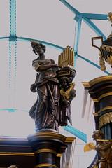 Cassel, Nord, Flandre, Collégiale Nôtre-Dame, organ case, musical detail (groenling) Tags: cassel nord flandre hautsdefrance france fr collégialenôtredame organ orgue wood carving woodcarving buffet bois saint sainte cecilia cecilie orgues mmiia