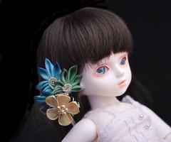 Small Turquoise and Emerald Leaf with Ume Kanzashi for BJD YOSD size doll. (Bright Wish Kanzashi) Tags: kanzashi tsumamizaiku hanakanzashi handmade silk textile art japanesetechnique
