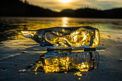 Warm Ice ( Explored) (Tore Thiis Fjeld) Tags: norway ice frozen cube icecube nature outdoors reflection golden light transparent nikon d800 sigma50mmf14dghsmart lake winter explore