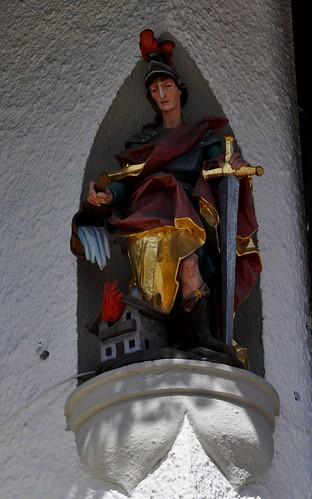 Oberammergau (Alemania). San Jorge en esquina de una casa