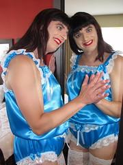 Dance (Paula Satijn) Tags: sexy hot girl gurl tgirl teddy playsuit lingerie satin silk silky shiny blue white lace sissy fun feminine