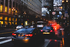 Congested (marq4porsche) Tags: san francisco california united states downtown city urban traffic market st street signs sign crosswalk light lights smoke steam car cars evening night buildings bus canon eos 6d 50mm 12 l
