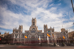 """Refugees Welcome"", Palacio de Cibeles (wheelcorner) Tags: palacio cibeles refugees welcome madrid spain espana longexposure traffic canon 5d2 2470"
