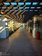 Colonnade to the fountain (Dr. M.) Tags: 500px challenge iphonography perspective structure wood 52weekchallenge shelterisland sandiego california fountain water yellow red leadinglines vegetation shadow light architecture