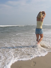 (Jess Rivera) Tags: ocean alexis summer beach water girl newjersey sand waves footprints bodylanguage lbi longbeachisland 123nj 123njpeople
