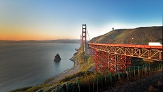 Golden Gate morning (tychay) Tags: california bridge water architecture sunrise landscape bay landscapes nikond70 outdoor marin goldengatebridge crop dxo 1224mmf4g coastline sanfranciscobay sharpen nikkor polarizer appleaperture chlomo digitalblending shadowhighlight 81a gitzo1228lvl denoise rrsbh55ballhead nikcolorefexpro digitalprocontrast nikonstunninggallery digitalbrilliancewarmth rrspciipanoclamp