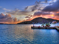Caribbean Sunset (Videoal) Tags: sunset mountain island pier colorful lovers explore caribbean hdr stmaaten