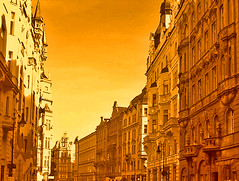 you've got to love prague! (bitzi  ion-bogdan dumitrescu) Tags: road street old city trip light summer orange brown holiday building yellow architecture photoshop canon fun europe republic czech prague photoshopped praha ixus 40 curve tones bitzi exploretop20 abigfave portfolio10 ibdp alemdagqualityonlyclub findgetty ibdpro wwwibdpro ionbogdandumitrescuphotography