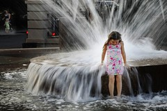 Girl at the Fountain across from Vendu in Charleston