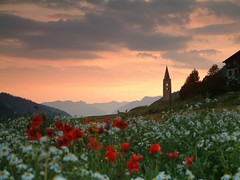 Ceillac, Sainte Cecile (Laurence TERRAS) Tags: flowers sunset red sky sun france alps church night alpes sunrise soleil europe explore queyras ceillac hautesalpes