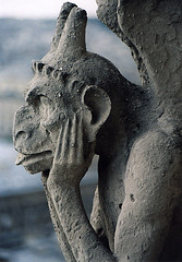 Blue Gargoyle from Notre Dame (J.T.R.) Tags: travel paris europe european notredame gargoyle grotesque travelphotography exchangecandidate