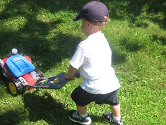 Hayden & The Lawn Mower (Adelle L) Tags: 2006 hayden mower