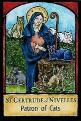 Patron Saint of Cats (Maia C) Tags: cats saint cat scanned magnet comment patronsaint maiac stgertrude
