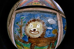 Smile! (spanaut) Tags: vienna wien painting geotagged toy kid lomography lion fisheye iloveyoursmile agfacolor200