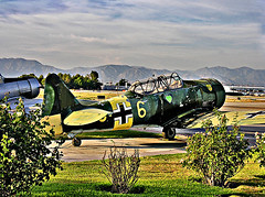 photoshopped version of previous hdr picture -> ww2 german fighter (Kris Kros) Tags: california ca usa classic public photoshop plane vintage airplane airport cool nikon pix antique aircraft aviation military wwii socal german vannuys ww2 kris worldwar jjj kkg kros kriskros vannuysairport ww2germanfighter kk2k kkgallery