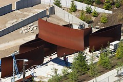 "300 tons of steel floating into place - Richard Serra's ""Wake"" (Belltown) Tags: sculpture wake sam steel seattleartmuseum richardserra osp olympicsculpturepark"