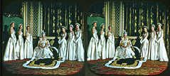 """Queen Elizabeth II and Her Ladies in Waiting"" (Olivander) Tags: vintage 3d crosseyed stereo 407 viewmaster 1953 coronation reel stereoscope ladiesinwaiting queenelizabethii cecilbeaton"