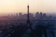Paris Skyline (tim.perdue) Tags: world city travel sunset urban paris france tower film silhouette skyline 35mm interestingness europe tour pentax k1000 eiffel montparnasse utatafeature