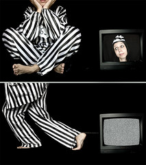 Brain Damage (Violator3) Tags: selfportrait black colour topf25 1025fav wow tv nikon stripes d70s bodylanguage pinkfloyd womenonly violator3 conceptual recomposition massmedia braindamage jailer psychoviolator