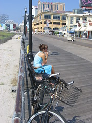 Catching a Smoke (iirraa) Tags: new city girl bicycle newjersey nj smoking atlantic atlanticcity jersey boardwalk eomsn