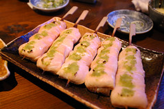 Chicken and Wasabi (earthhopper) Tags: food chicken japan geotagged japanese tokyo yummy shibuya   yakitori    geo:lon=139698962  dogenzaka geo:tool=yuancc geo:lat=35657331 komaya