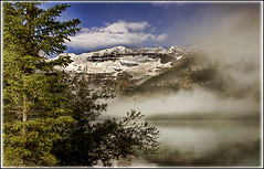 Misty Lake (Glenbourne At Home) Tags: mist canada landscapes alberta banff lakelouise lakescapes